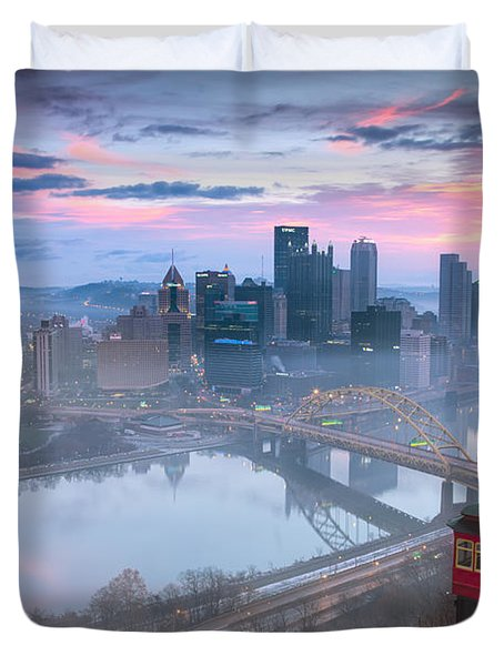 Pittsburgh Fall Day Duvet Cover by Emmanuel Panagiotakis