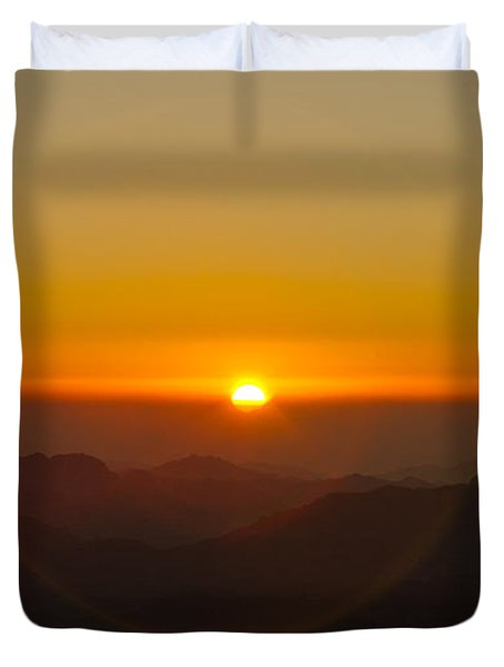 Duvet Cover featuring the pyrography Sunrise In Sinai Mountains by Julis Simo