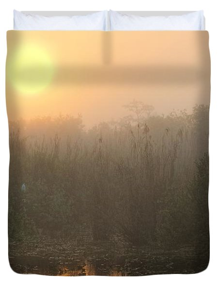 Sunrise In The Everglades Duvet Cover by Rudy Umans