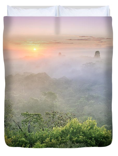 Sunrise In Tikal Duvet Cover