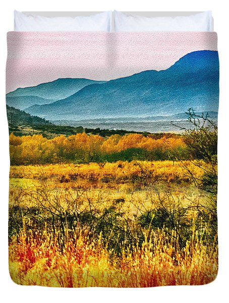 Sunrise In Verde Valley Arizona Duvet Cover by Bob and Nadine Johnston