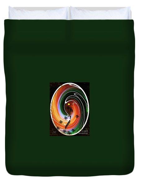 Duvet Cover featuring the digital art Sunrise Joggers  by Ann Calvo