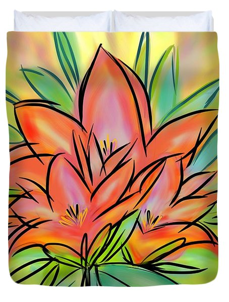 Sunrise Lily Duvet Cover by Christine Fournier