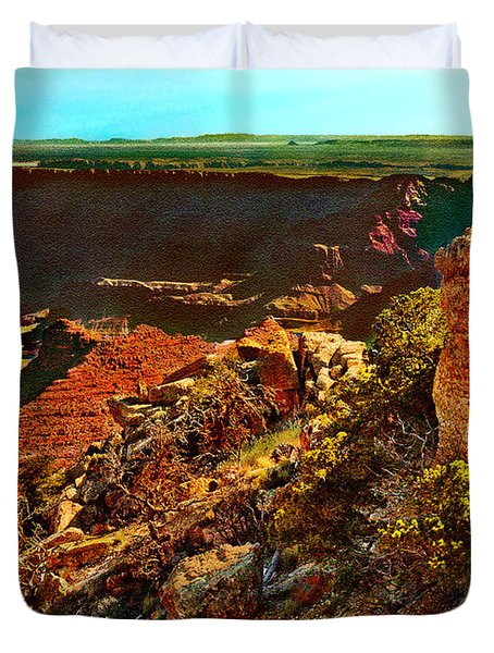 Sunrise Lipan Point Grand Canyon Duvet Cover by Bob and Nadine Johnston