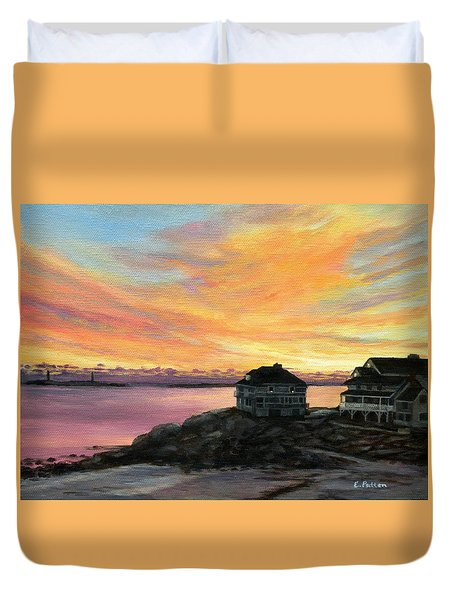 Sunrise Long Beach Rockport Ma Duvet Cover by Eileen Patten Oliver