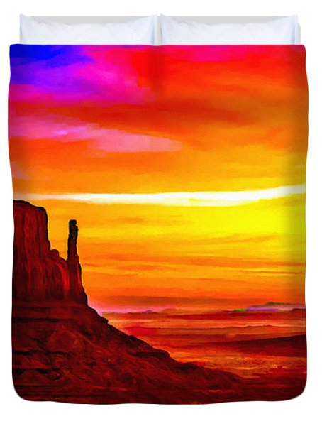 Sunrise Monument Valley Mittens Duvet Cover