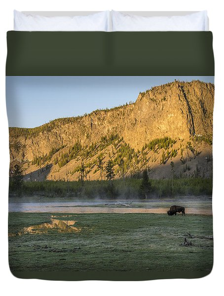 Sunrise Mt. Hayes Yellowstone National Park Duvet Cover