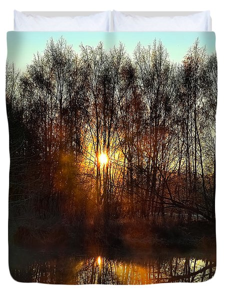 Duvet Cover featuring the photograph Sunrise October 31 2014 by Leif Sohlman