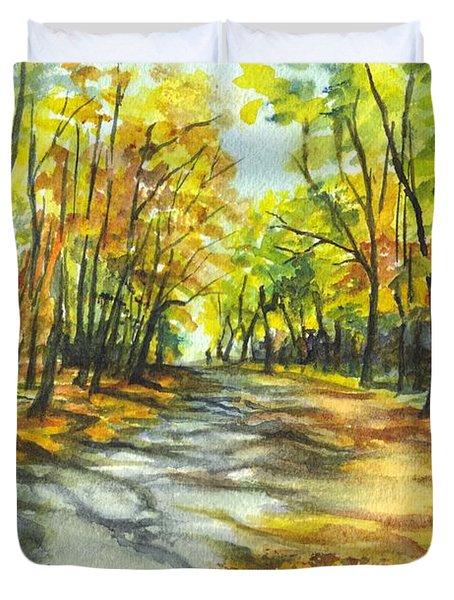 Sunrise On A Shady Autumn Lane Duvet Cover
