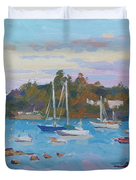 Sunrise On Inner Harbor Duvet Cover by Dianne Panarelli Miller