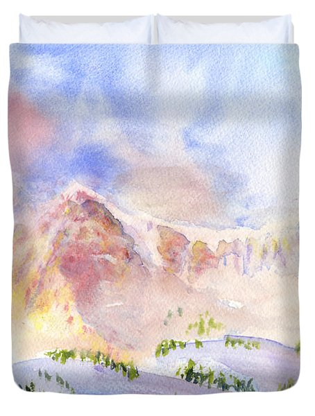 Sunrise On Mount Ogden Duvet Cover