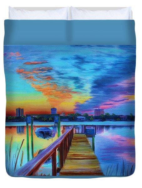 Sunrise On The Dock Duvet Cover