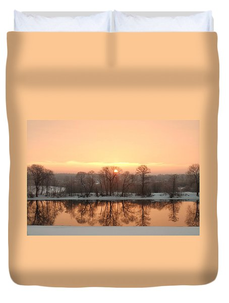 Sunrise On The Ema River Duvet Cover