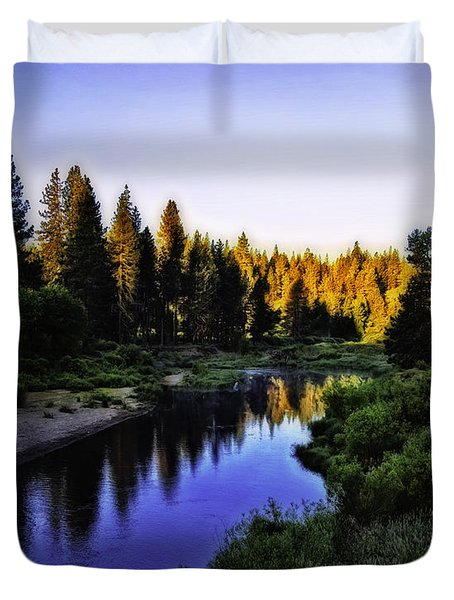Sunrise On The Feather River Duvet Cover by Nancy Marie Ricketts
