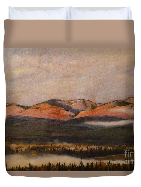 Duvet Cover featuring the painting Sunrise On The Ibex Valley by Brian Boyle