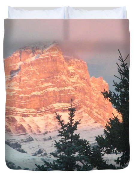Duvet Cover featuring the photograph Sunrise On The Mountain by Ann E Robson
