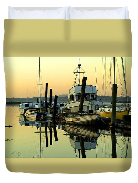 Sunrise On The Petaluma River Duvet Cover by Bill Gallagher