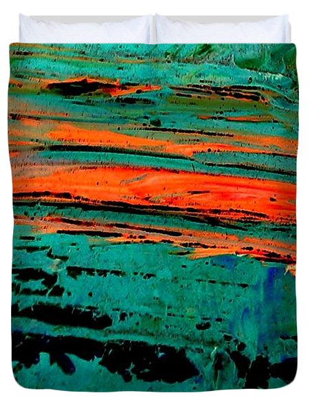 Duvet Cover featuring the painting Sunrise On The Water by Jacqueline McReynolds