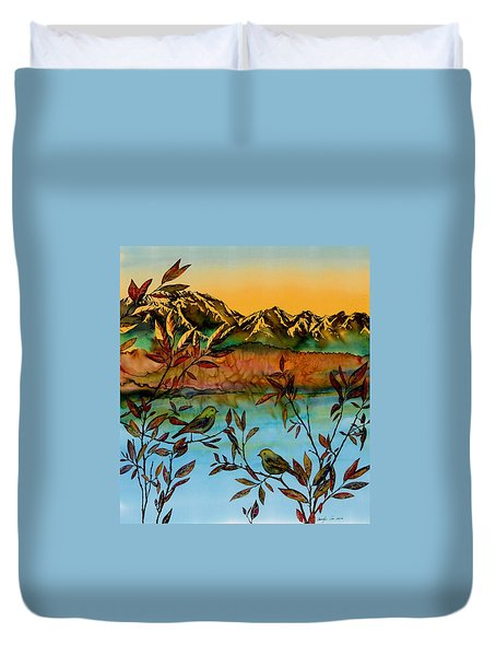 Sunrise On Willows Duvet Cover by Carolyn Doe