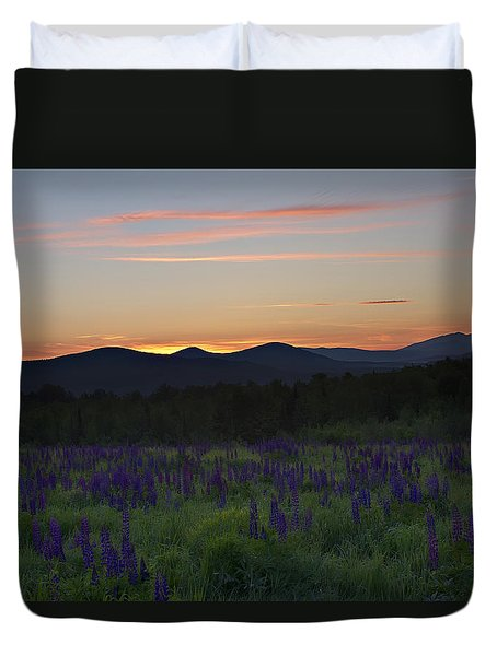 Sunrise Over A Field Of Lupines Duvet Cover