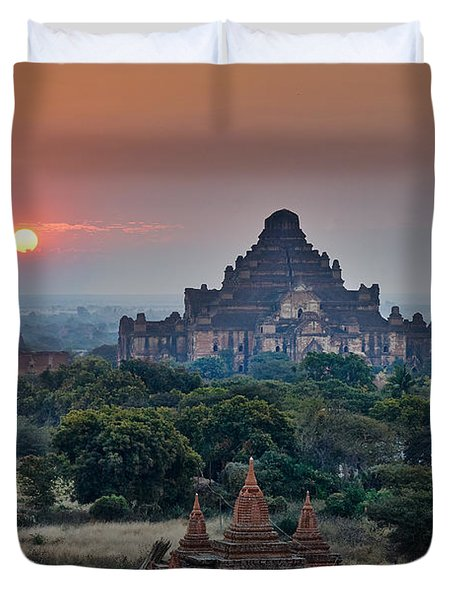 sunrise over Bagan Duvet Cover by Juergen Ritterbach