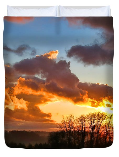 Sunrise Over Countryside Duvet Cover