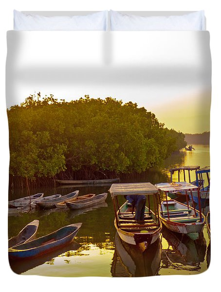 Sunrise Over Gambian Creek Duvet Cover