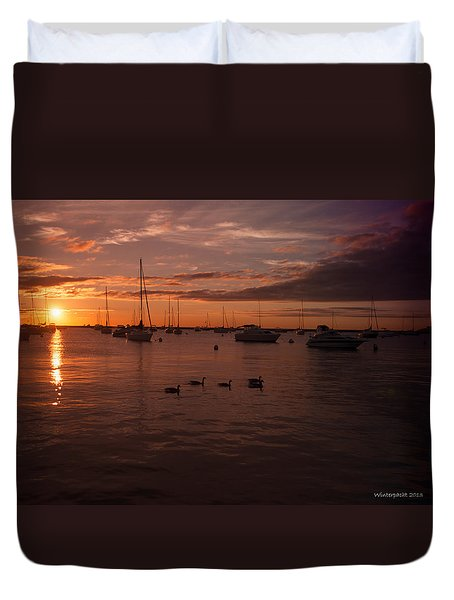 Sunrise Over Lake Michigan Duvet Cover