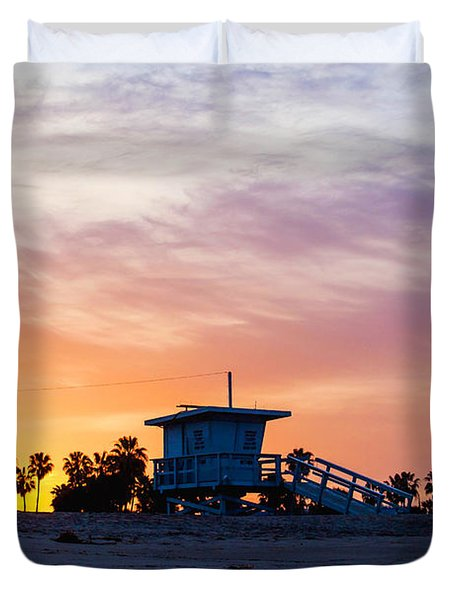 Duvet Cover featuring the photograph Sunrise Over Venice Beach by Art Block Collections