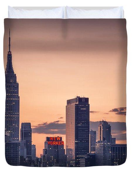 Manhattan Sunrise Duvet Cover by Eduard Moldoveanu
