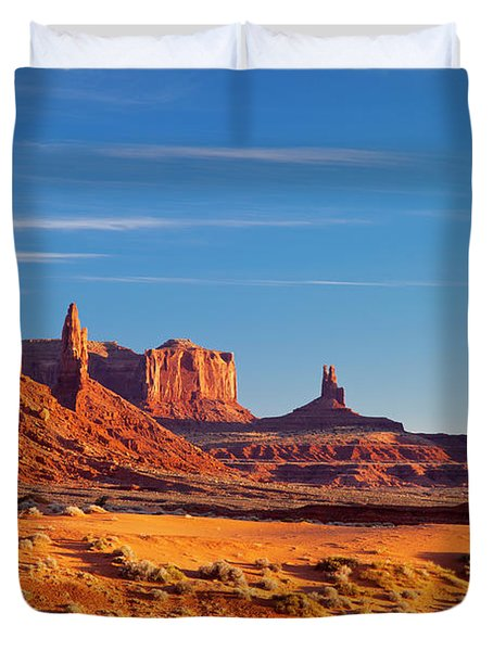 Duvet Cover featuring the photograph Sunrise Over Monument Valley by Brian Jannsen