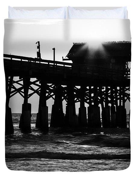 Sunrise Over Pier Duvet Cover