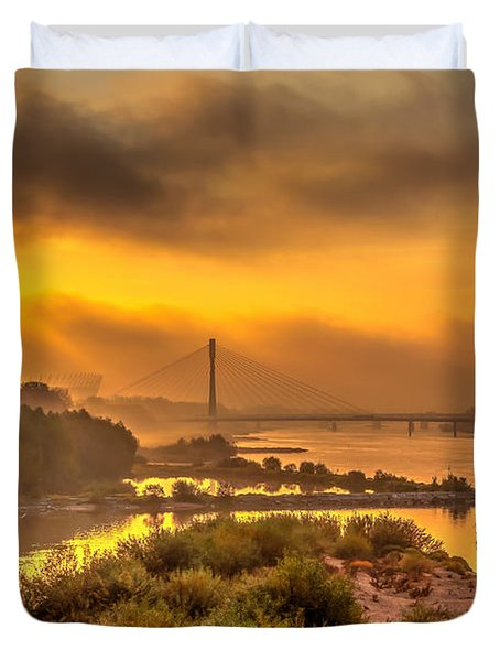Sunrise Over Swiatokrzyski Bridge In Warsaw Duvet Cover by Julis Simo