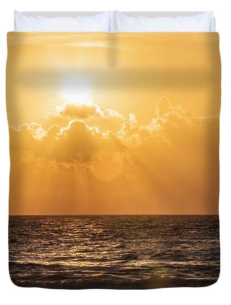 Sunrise Over The Caribbean Sea Duvet Cover