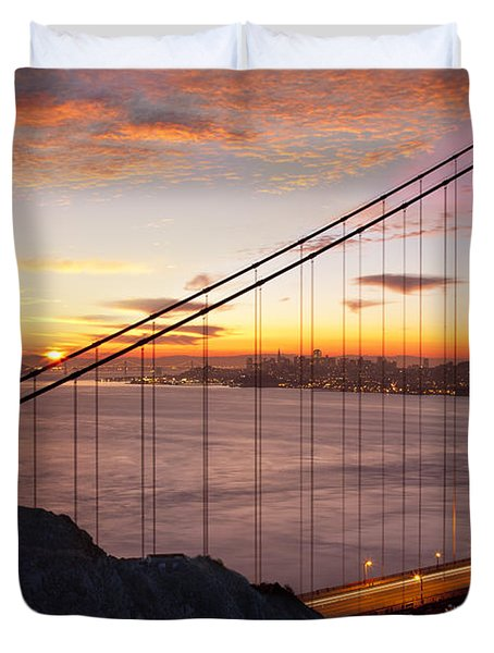 Duvet Cover featuring the photograph Sunrise Over The Golden Gate Bridge by Brian Jannsen