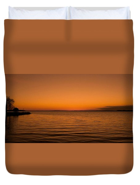 Sunrise Over The Lake Of Two Mountains - Qc Duvet Cover by Juergen Weiss