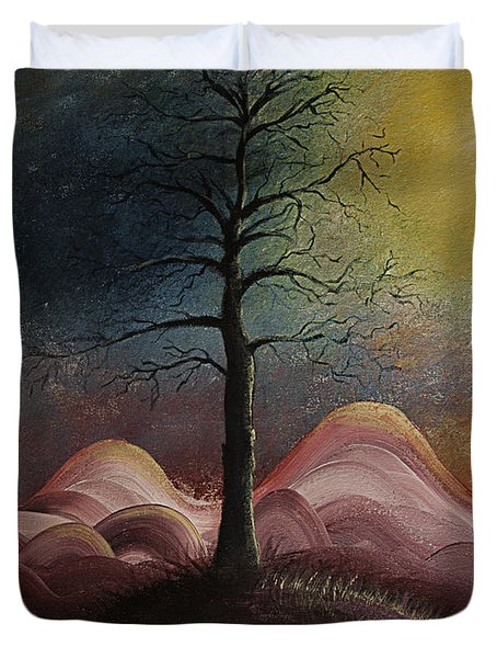Sunrise Over The Mountains Duvet Cover by Gray  Artus