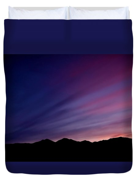 Duvet Cover featuring the photograph Sunrise Over The Mountains by Rona Black