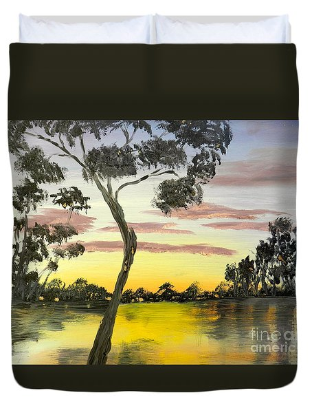 Sunrise Over The Murray River At Lowson South Australia Duvet Cover