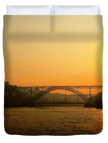 Sunrise Over The River Duvet Cover