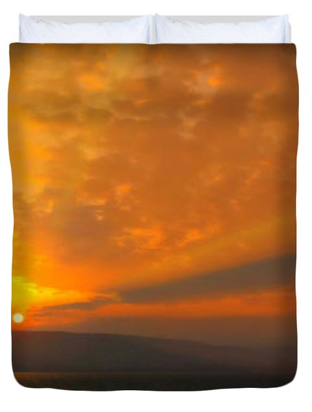 Sunrise Over The Sea Of Galilee Duvet Cover