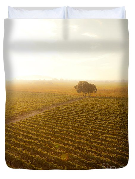 Sunrise Over The Vineyard Duvet Cover by Diane Diederich