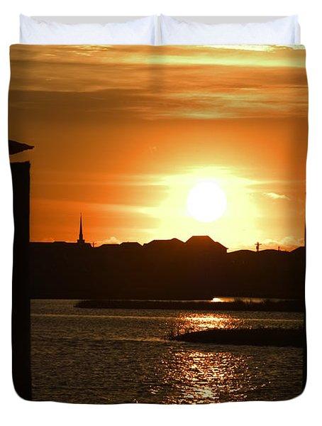 Sunrise Over Topsail Island Duvet Cover by Mike McGlothlen