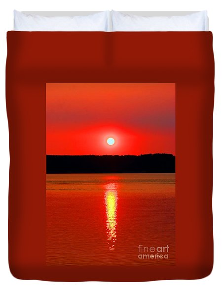 Sunrise Over Whidbey Island Duvet Cover