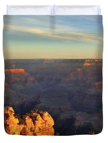 Sunrise Over Yaki Point At The Grand Canyon Duvet Cover by Alan Vance Ley
