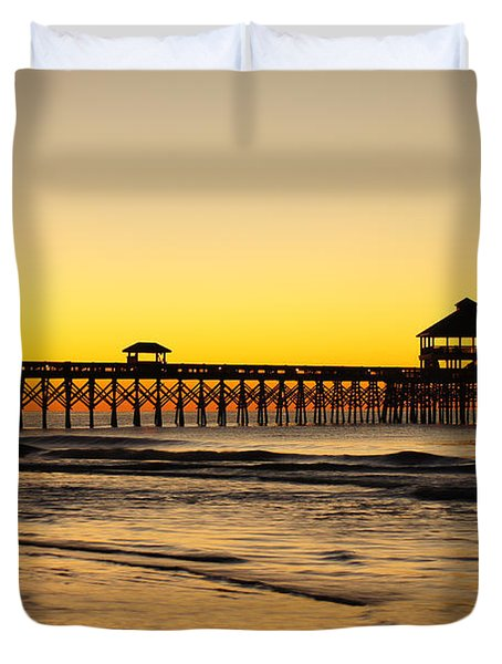 Sunrise Pier Folly Beach Sc Duvet Cover