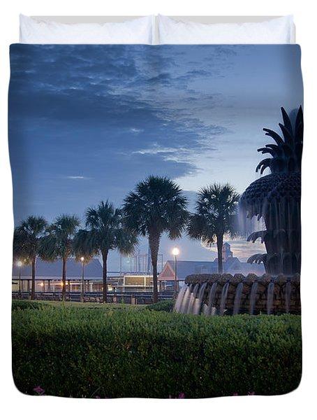 Sunrise Pineapple Fountain Duvet Cover