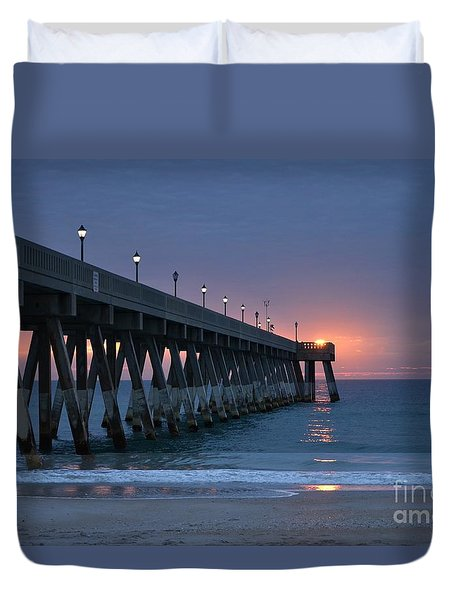 Duvet Cover featuring the photograph Sunrise Reflections by Bob Sample