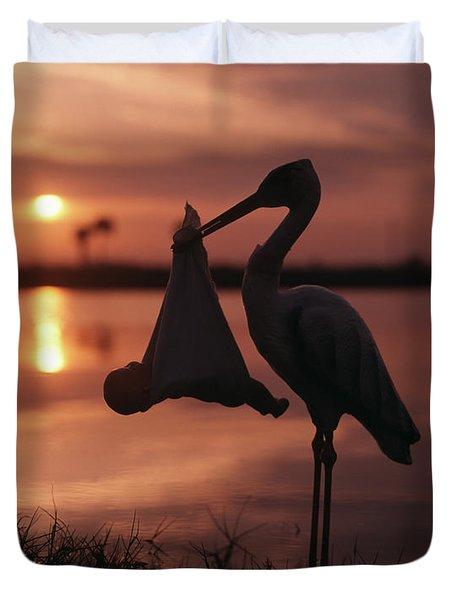 Sunrise Silhouette Of Stork Carrying Duvet Cover