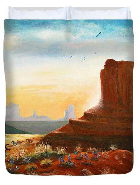 Sunrise Stampede Duvet Cover by Marilyn Smith